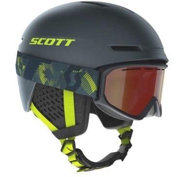 Scott Combo Helmet Track + Goggle Fact Storm Grey/Ultralime Yellow